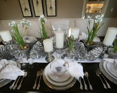 Mirror Tiles For Table Decorations Inspiration White Candles On Mirror Tiles Complete A White Christmas Table Design Inspiration