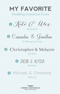 The best wedding invitation blog: Fonts for wedding invitations ...