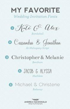 My Favorite Wedding Fonts // andreathedesigner.com
