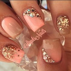 Coral sparkle and rhinestone nail design nails ногти, маникюр, нейл-арт. Pink Shellac Nails, Shellac Nail Designs, Nail Art Designs, Acrylic Nails, Acrylics, Coral Nails With Design, Nails Design With Rhinestones, Coral Design, Rhinestone Nails