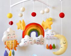 Baby mobile Rainbow Clouds mobile Moon mobile Nursery mobile Cot mobile Crib mobile Sun Stars Hanging mobile Baby shower gift Nursery decor
