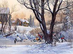 winterspiele zur Abendszeit... um ...1970...-Aquarell