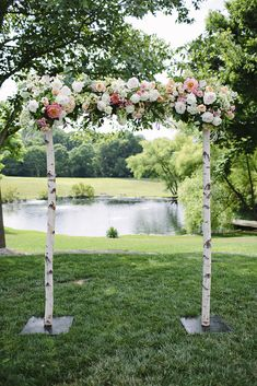 Birch wedding altar complete with peonies, roses, and hydrangeas - we loved designing and planning this stunning farm wedding!   via Style Me Pretty