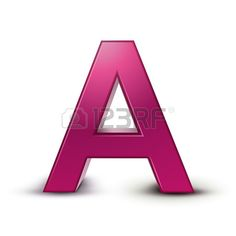 3d pink letter A isolated white background