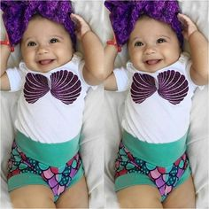 Infant Baby Kids Girl Cotton Romper Top+Little Mermaid Shorts Outfit Clothes Set Baby Girl Tops, Cute Baby Girl, Baby Love, Cute Babies, Babies Stuff, Baby Baby, Baby Kids Clothes, Baby & Toddler Clothing, Toddler Outfits