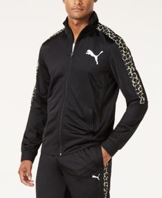 Puma Men s Cheetah-Print Track Jacket - Black S e088731adf3