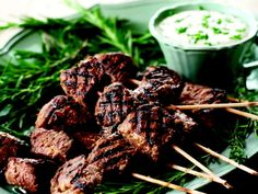 Juicy Beef Skewers with Horseradish dip. I'm going to try to do this at our fondue party!