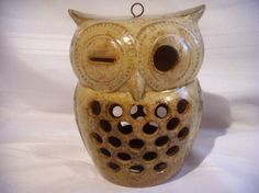 Vintage 1970s winking owl ceramic candle holder by TheGrassHarpist