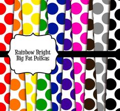INSTANT DOWNLOAD -- Rainbow Bright Big Fat Polkas -- 12x12 Digital Paper Pack