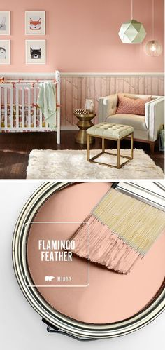 BEHR's new Color of the Month: Flamingo Feather. The light blush tones of this warm pink color are perfect for adding a glamorous touch to the interior design of your home. This girly nursery pairs Flamingo Feather with gold and cream accents.