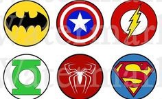 2 PRINTABLE Superhero Logo Stickers by OurSecretPlace on Etsy, $3.99 Enjoy your favorite Superhero logos!  Use for Treat bags, Cupcake toppers, Party decorations, Party favors, Scrapbooking.
