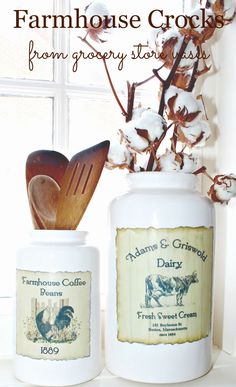 A couple of clearance aisle vases become DIY farmhouse decor items with some vintage looking labels and Fusion Transfer Gel.