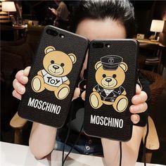 Moschino ブランド iPhoneX ケース モスキーノ 女性向け 超可愛い シリコン製 iPhone8 ソフトカバー ストラップ 芸能人愛用 熊柄 薄型