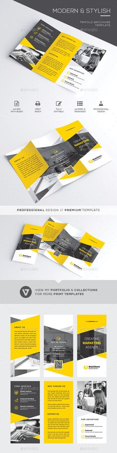 Trifold Brochure Template A highly versatile corporate trifold brochure suitable for all business industry. Simply insert the images reflecting your business nature and you're all set. Create stunning brochures on the fly and streamline your workflow now with this easy to edit template.