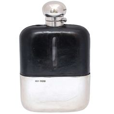 Art Deco Very Large Sterling Silver-Mounted Flask | From a unique collection of antique and modern sterling silver at https://www.1stdibs.com/furniture/dining-entertaining/sterling-silver/