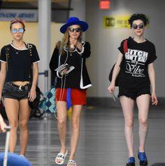 Cara Delevingne, her girlfriend Annie Clark & Suki Waterhouse departing from…
