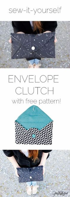 DIY Purses and Handbags - Envelope Clutch - Homemade Projects to Decorate and Make Purses - Add Paint, Glitter, Buttons and Bling To Your Hand Bags and Purse With These Easy Step by Step Tutorials - Boho, Modern, and Cool Fashion Ideas for Women and Teens http://diyjoy.com/diy-purses #diypurse #handbagdiy #diyhandbag #diybag #easydiyprojectsforteens