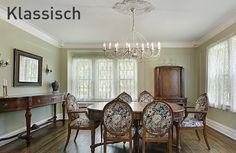 Klassisches Wohnen bedeutet royale Möbel, große Zimmer mit hohen Fenstern und hellen Wänden.  In Kombination mit Vintage- oder ländlichen Elementen wird ein klassisches Interieur  zu einem wahren Märchen! #klassisch #wohnstil #royal
