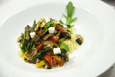 Vegetarian couscous with feta cheese.