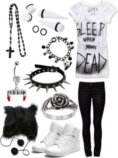 Emo / punk / rock / outfit / style / black and white / stretch / sleep when you're dead