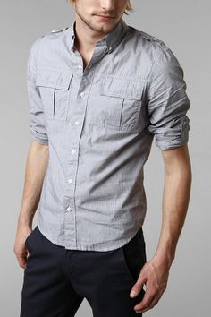 All-Son Mini Pinstripe Military Shirt Urban Outfitters $49.00