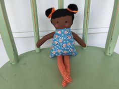 Black, African American handmade rag doll perfect size for small hands. by AButtonAndAStitch on Etsy https://www.etsy.com/listing/181623281/black-african-american-handmade-rag-doll