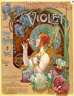 "Vintage perfume advertising poster by Alphonse Mucha entitled ""Parfumerie Violet"". Retro Poster, Vintage Posters, French Posters, Vintage Labels, French Vintage, Vintage Art, Alphonse Mucha Art, Jugendstil Design, Art Nouveau Poster"