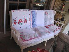 Boulder Dam Cottage: vintage re-do 1940s solid wood couch