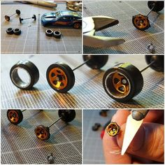 how to make deep dish wheels for hot wheels and diecast cars Custom Hot Wheels, Hot Wheels Cars, Wheels And Tires, Custom Cars, Voitures Hot Wheels, Miniatur Motor, Miniature Cars, Plastic Model Cars, Model Cars Kits