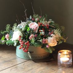 The Real Flower Company Winter Woodland Hat Box Arrangement   http://www.realflowers.co.uk/christmas-collection-1/the-real-flower-company-winter-woodland-hat-box-arrangement.html