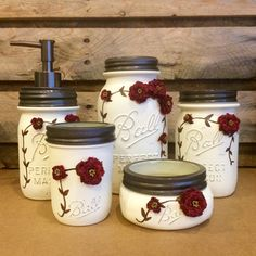 This Beautiful Ivory hand painted Mason Jar Desk Set or Mason Jar Bathroom Set with vintage Ball Perfect Mason jars would look amazing on most any desk or vanity! It is a great piece of Mason jar decor for your home! This Mason jar bathroom or office set is painted in beautiful pure