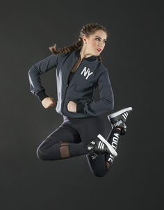 Cute customizable bomber jacket and edgy mesh cut out leggings. Great for team apparel and dance team warm ups! The Line Up Team Apparel