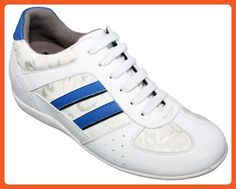 TOTO - W22031 - 2.8 Inches Taller - Size 9 US - Height Increasing Elevator Shoes (White and Blue Leather Casual Sneakers) Women - Sneakers for women (*Amazon Partner-Link)