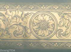 French Damask Blue Gold Scroll Acanthus Leaf Medallion Wall Paper Border | eBay