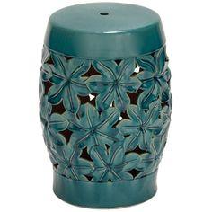 Morning Glory Garden Stool ceramic turquoise-- cutes, hun