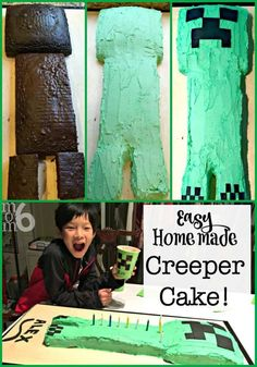 Minecraft is such a fun birthday party theme for tweens! This post has great ideas for your own Minecraft party- including how to make this easy homemade Creeper Cake! Birthday Cake Icing, Birthday Cake Kids Boys, Birthday Party At Home, Homemade Birthday Cakes, Boy Birthday Parties, Birthday Party Favors, Birthday Fun, Birthday Party Decorations, Birthday Ideas