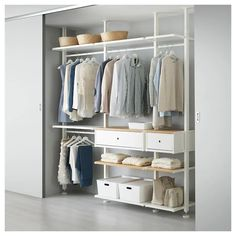 ELVARLI 3 sections, white, bamboo. ELVARLI storage system adapts to your space. The open solution with durable bamboo shelves creates an attractive display of your belongings. Ikea Pax, Ikea Elvarli, Algot Ikea, Ceiling Materials, Bamboo Shelf, Honeycomb Paper, Ikea Family, Plastic Drawers, Painted Drawers