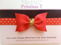 Girls/Baby Headband Red Bow Headband w/ by BowtiquebyprincessT, $8.90