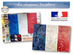Atelier de collage pour faire réaliser un drapeau tricolore - tutoriel Mitsouko au CP