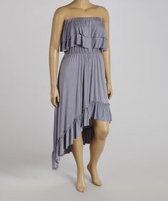 Love this Slate Gray Strapless Dress - Plus by Poliana Plus on #zulily! #zulilyfinds