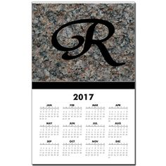 Monogram R Calendar Print by Khoncepts