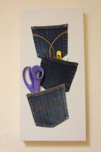 Wallhanging made from jeans pockets ~ Vicky Myers Creations