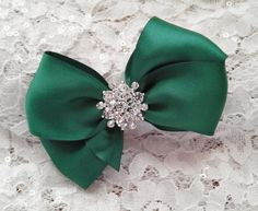 Green Satin Hair Bow with Rhinestone and Pearl by AllAHeartDesires