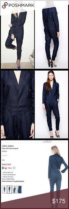 "JOE'S JEANS 👖 ""Super Chic"" Jumpsuit NWT Classic workwear elements lend polished appeal to a twill Joe's Jeans jumpsuit. Notched lapels frame the deep V neckline, and covered snaps fasten the placket. 4-pocket styling. Snap closure and zip fly. Long sleeves.  Fabric: Lightweight twill. 65% lyocell/33% cotton/2% elastane. Dry clean. Made in the USA.  MEASUREMENTS Inseam: 28in / 71cm Leg opening: 12in / 30.5cm Joe's Jeans Pants Jumpsuits & Rompers"