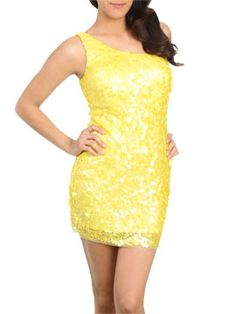 Mixed Sequin One Shoulder Dress from ArdenB.com
