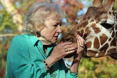 Betty White and a giraffe! It's my two favorite things  together!