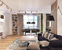 Nice modern einrichten wohnzimmer teppichmuster dunkles sofa essbereich helle w nde gr ne akzente