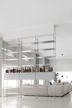 Contemporary style open floor-ceiling mounted divider aluminium shelving unit MINIMA 3.0 ROOM DIVIDER By MDF Italia design Metrica Shelf Design, Küchen Design, Interior Design, Divider Design, Italia Design, Modular Shelving, Floor Ceiling, Interiors Online, Contemporary Style