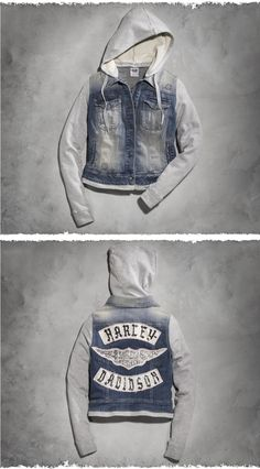 We amp the loo on this women's jacket with classic motorcycle club rocker graphics.   Harley-Davidson Women's Hooded Two-Fer Denim Jacket