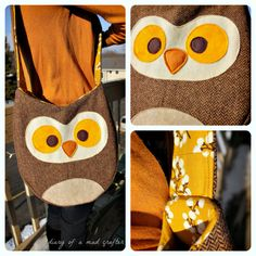 DIY owl bag!! Really cute and easy to follow instructions!